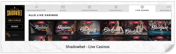 Shadowbet Casino Live-Casino