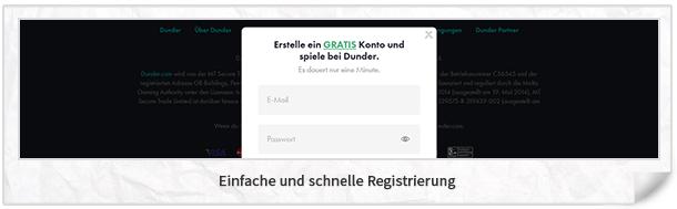 Dunder Registrierung