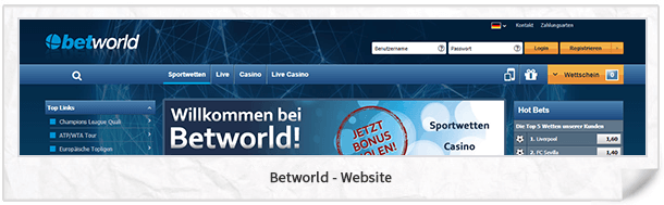 Betworld Webseite