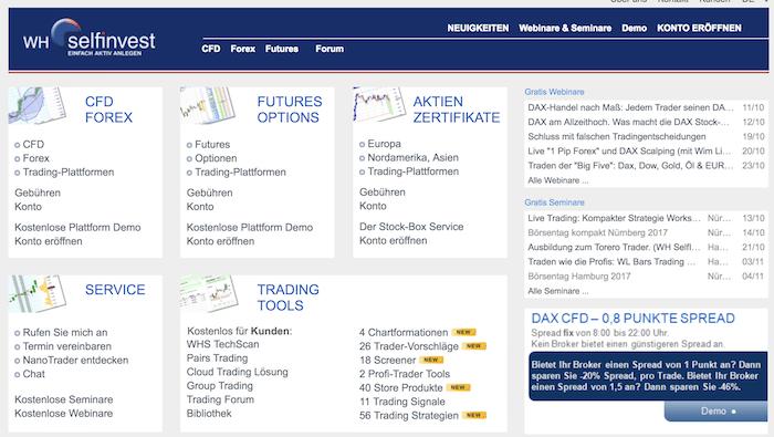 WH Selfinvest Erfahrungen: Die WH SelfInvest Homepage.