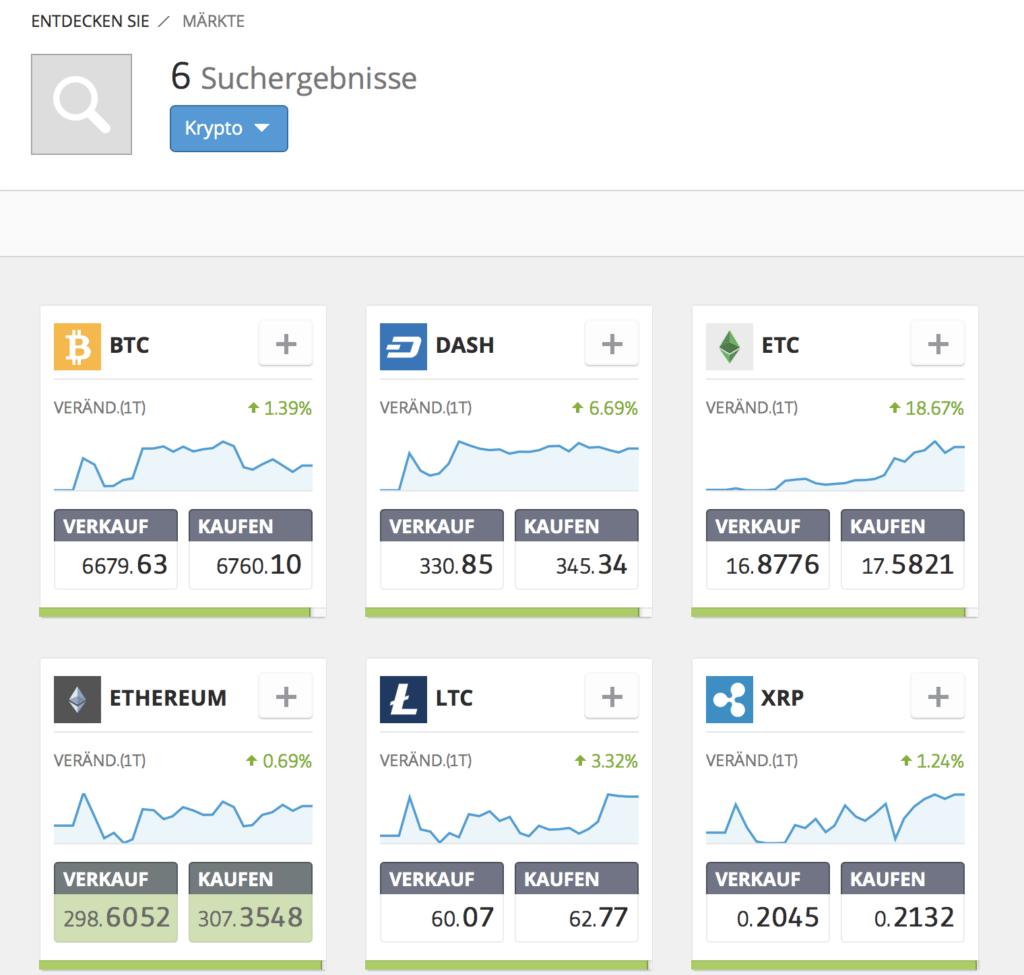 Diese Kryptowährungen sind bei eToro verfügbar