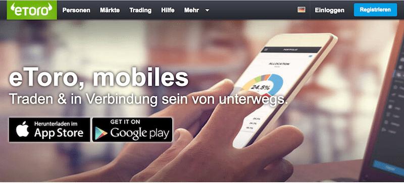 eToro mobile Handel