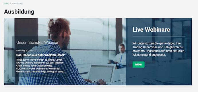 XTB bildet seine Trader mit Live-Webinaren aus und bietet dabei viele Einblick in die Strategie des Tradings