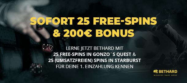 Bethard Casino Bonus: bis 200 Euro + Freispiele
