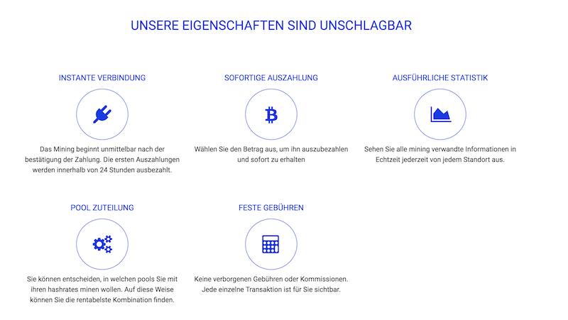 HashFlare Eigenschaften