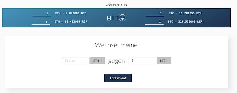 Ethereum Bitcoins Tausch