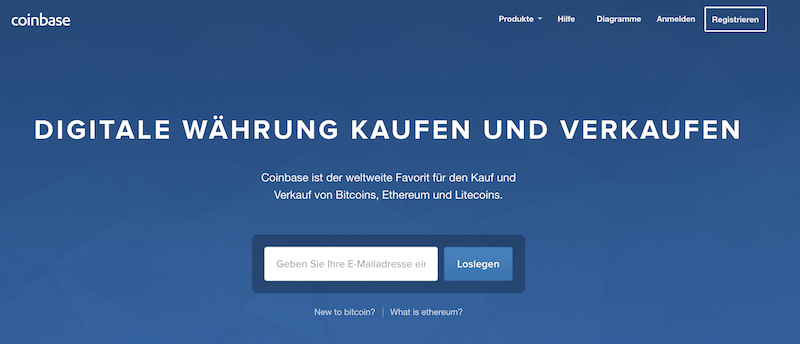 Coinbase Internetauftritt