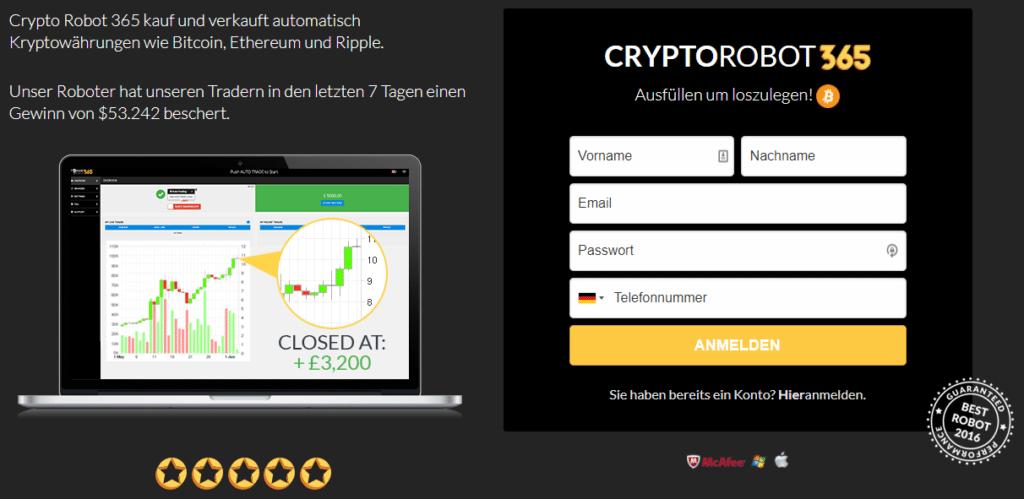 Crypto Robot 365 Webseite