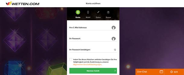 Wetten.com Casino Registrierung