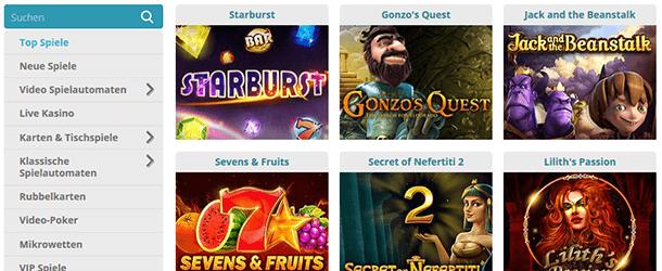 Cozyno Casino Spieleauswahl