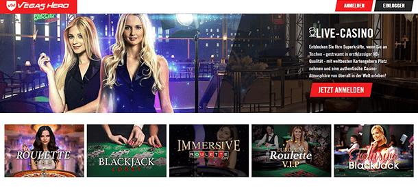 Vegas Hero Casino Livespiele