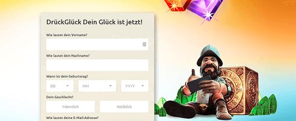 DrueckGlueck App Registrierung