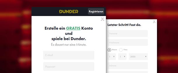 Dunder Casino App Registrierung