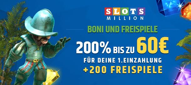 SlotsMillion Willkommenspaket für Neukunden