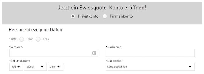Swissquote Kontoeröffnung
