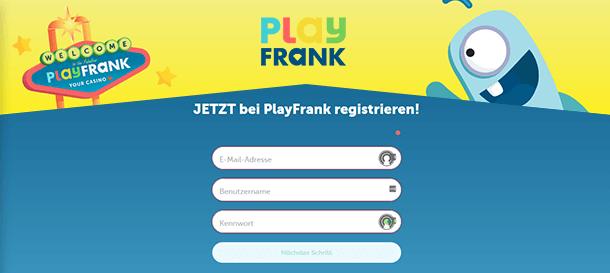 PlayFrank Casino Registrierung