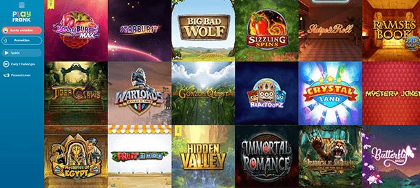 PlayFrank Casino Spieleauswahl