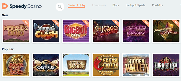 Speedy Casino Spieleauswahl & Slots