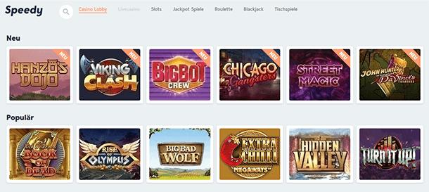 Speedy Casino Spieleauswahl