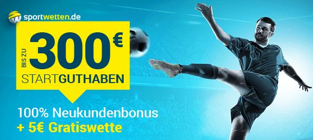 Sportwetten.de Bonus bis zu 300 Euro + Freebet