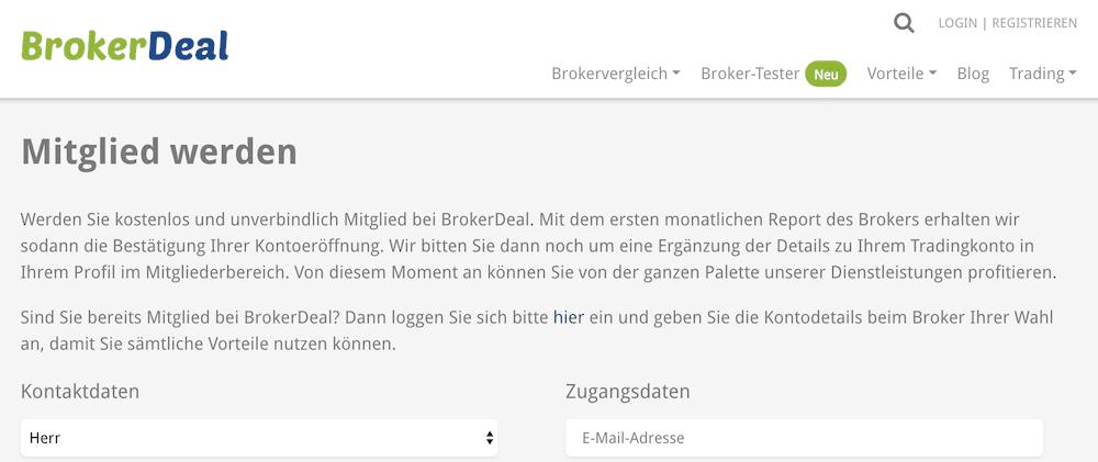 BrokerDeal Anmeldung