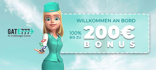 Gate777 Casino Neukundenbonus bis zu 200 Euro