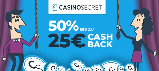 CasinoSecret Cashback Bonus für Neukunden