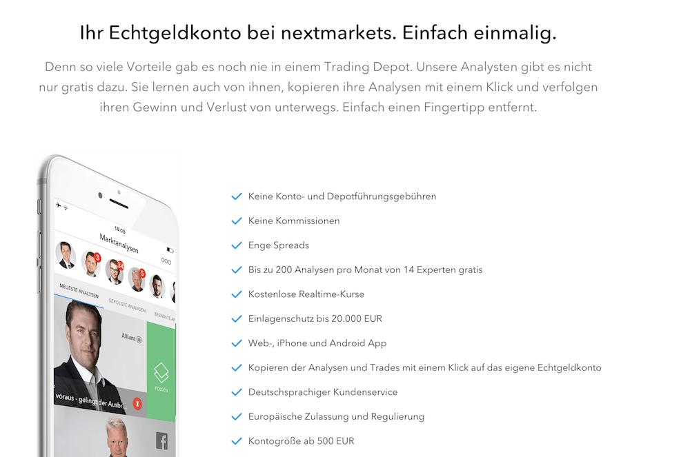 nextmarkets Konto
