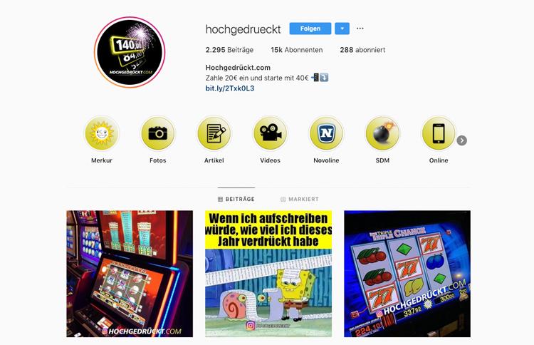 hochgedrückt.com Instagram-Auftritt