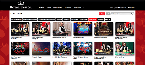 Royal Panda Casino Live Casino