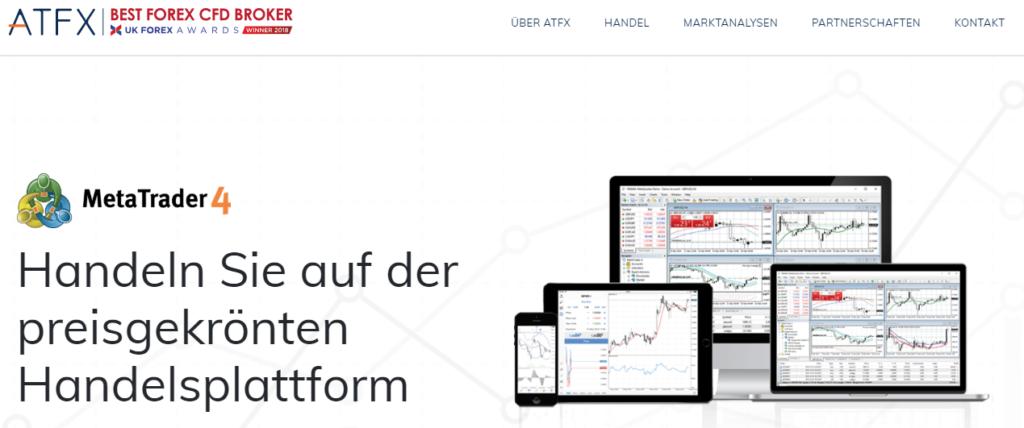 ATFX bietet den MT4 zum Traden an