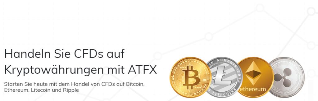 ATFX bietet auch den Handel von CFDs auf Kryptowährungen an