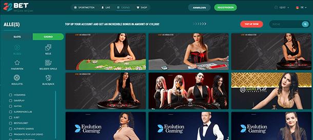 22BET Casino Live Casino