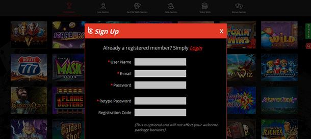 bCasino Registrierung