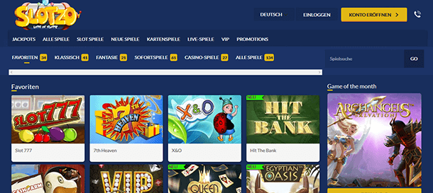 Slotzo Casino Spiele
