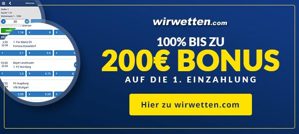 WirWetten Sportwetten Bonus für neue Kunden