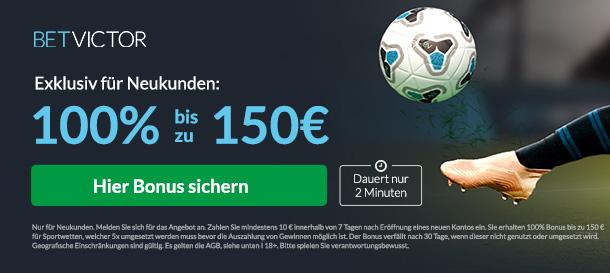 BetVictor Sport Bonus 100% bis zu 150€