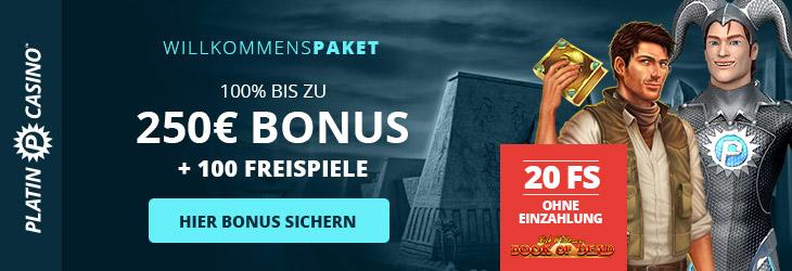Platin Casino Bonus für Neukunden