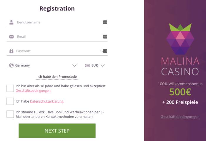 malina registrierung