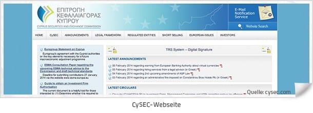 Zysec Webseite
