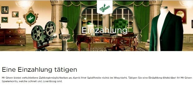 Zahlungsmethoden im Mr. Green Casino