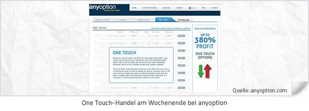 One Touch Handel am Wochenende bei anyoption