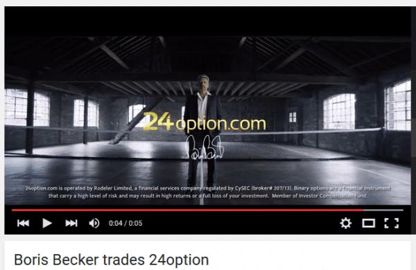 Boris Becker tradet 24option