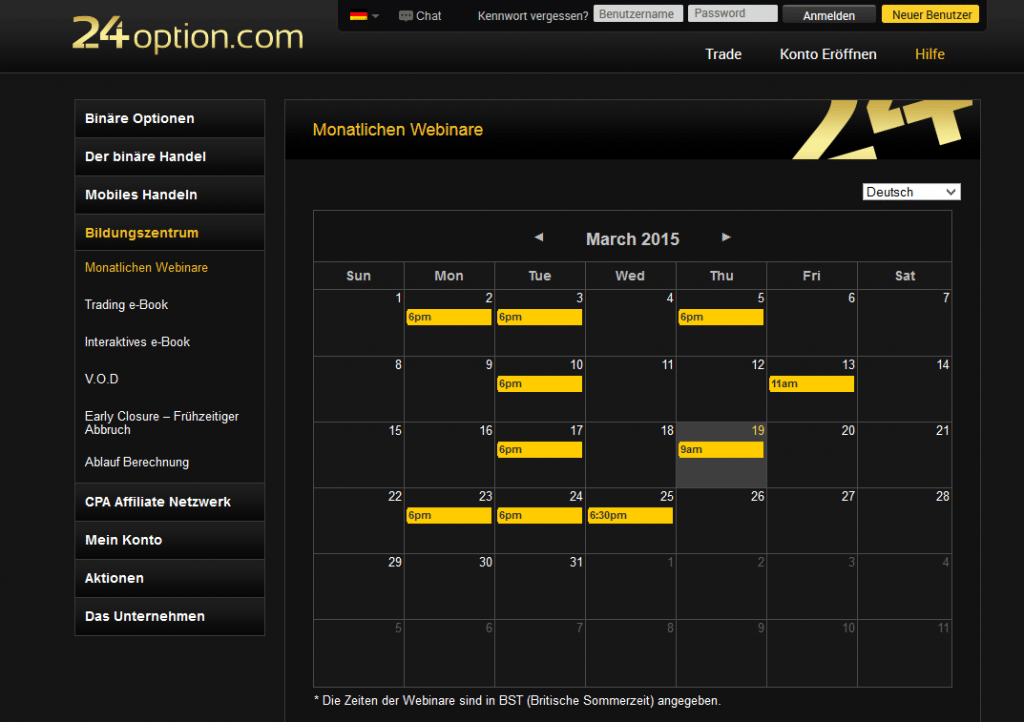 Zum Angebot von 24option gehören auch regelmäßige Webinare