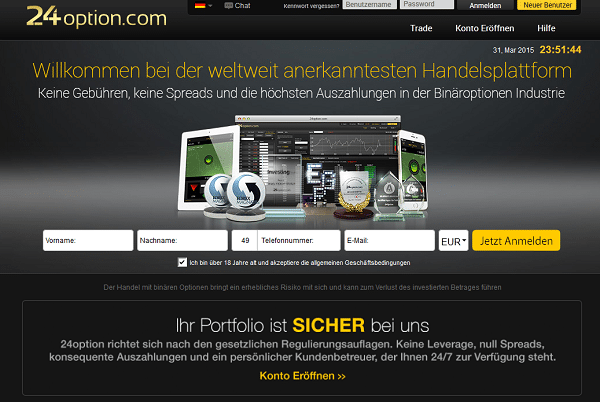 Der Webauftritt des Brokers 24option