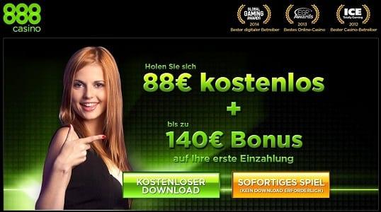 88 Euro No Deposit Bonus im 888Casino