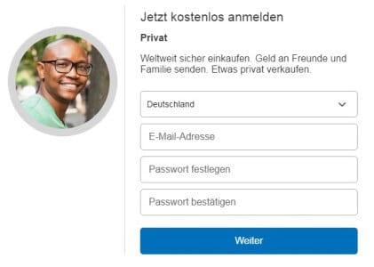 Paypal Account registrieren