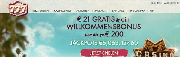 21 Euro Bonus ohne Einzahlung beim 777Casino