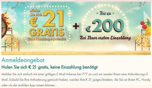 21 Euro Bonus ohne Einzahlung bei 777