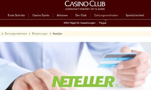 Im CasinoClub mit Neteller bezahlen